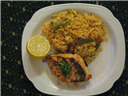Grilled Atlantic Salmon with tangy Tomato Rice