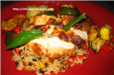 Grilled Thai Chicken over Brown Rice Medley and Rosemary Roasted Vegetables