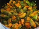 Roasted curry Brussels sprouts and Potato