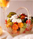 Tropical fruit salad with coconut cream