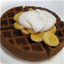 Chocolate waffles with caramel banana