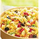 Pasta salad with yoghurt & feta cheese dressing.